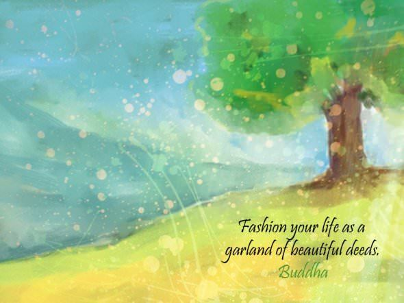 buddha life advice beautiful deeds inspiration motivation image picture quote art illustration tree