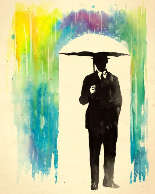 color phobia rainbow rain umbrella man silhouette suit art inspiration life drawing painting
