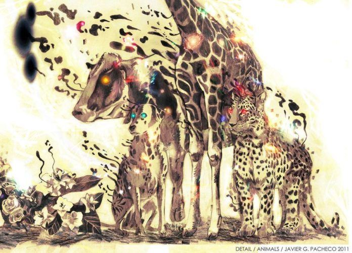 cow giraffe dalmation leopard flowers melting flying spots digital art photoshop painting design
