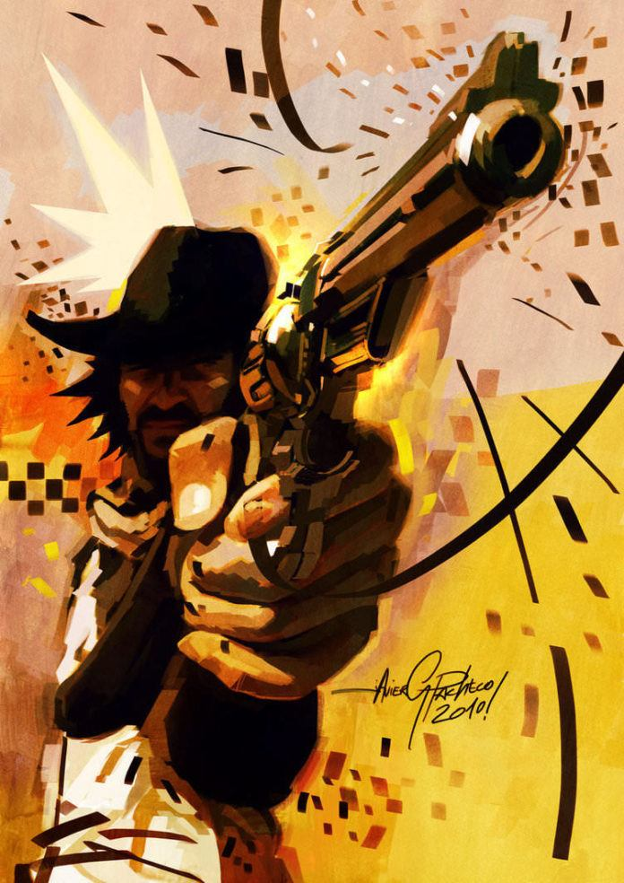 cowboy shooting gun graffiti prespective photoshop painting digital art design