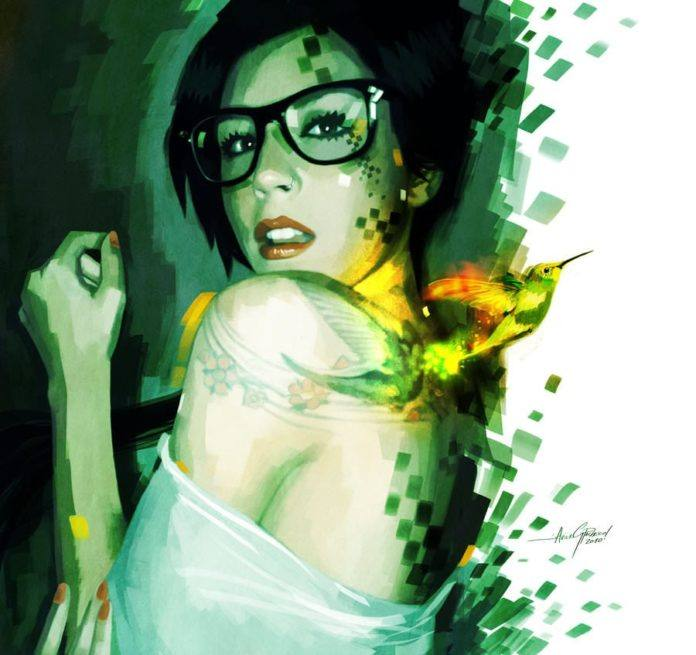 cute girl in glasses hummingbird digital art photoshop painting breaking apart pieces