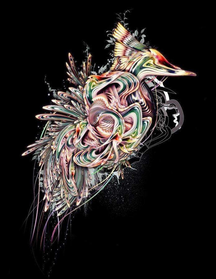 Digital artist Nik Ainley creates a psychedelic bird painting in Photoshop
