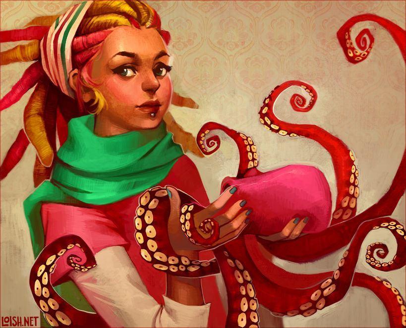Dreadlock Hair Hippy Girl Octopus Big Eyes Pretty Beautiful Woman Digital Art Photoshop Cartoon Painting
