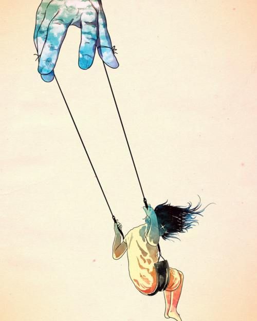 hand of god girl on swing life inspiration art illustration freedom fun