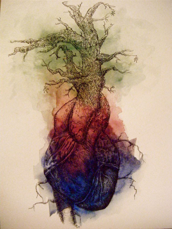 heart tree growth growing nature body art illustration drawing painting rainbow color
