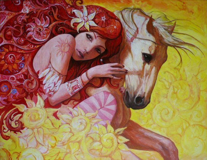 hippy flower girl with horse patterns art oil painting friends animal beautiful