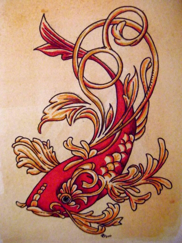 koi fish tattoo design nature water beautiful decorative animal red ...