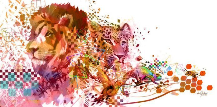 lion leaopard aardvark humming bird bee digital art design photoshop painting animals