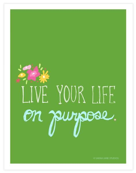 live your life on purpose inspirational image quote