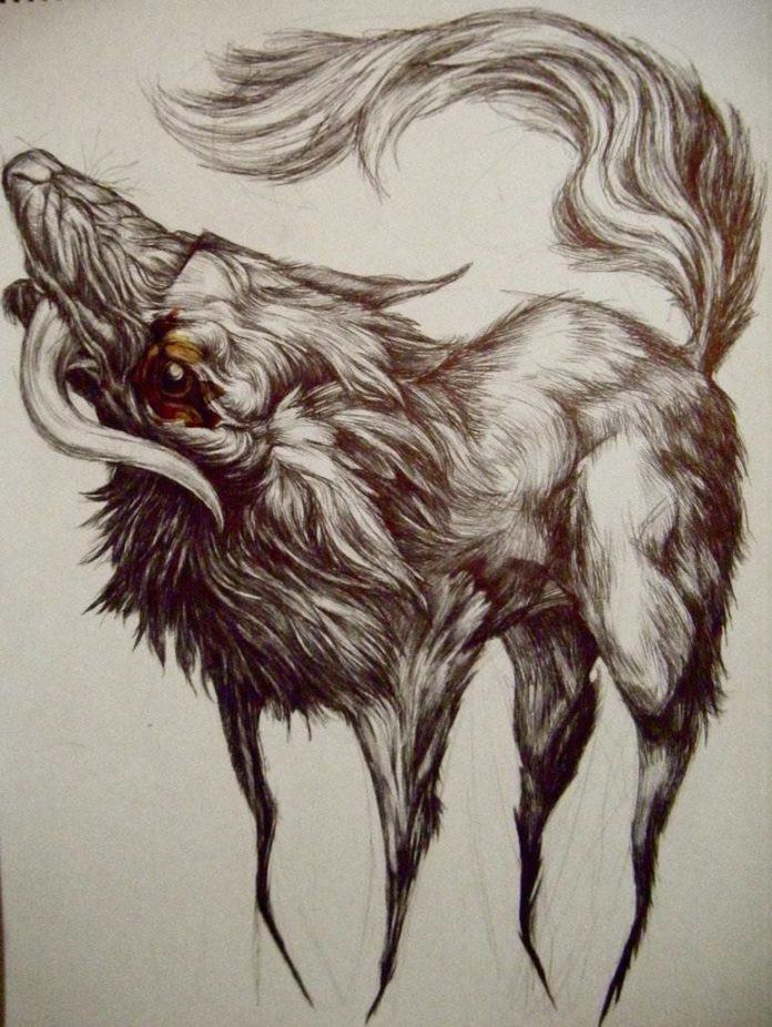 mad wolf fantasy character design illustration art drawing animal creature beast twisted