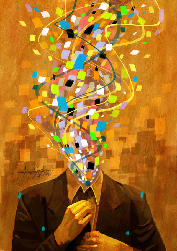 man in suit no head headless shapes confetti nowhere photoshop painting digital art design