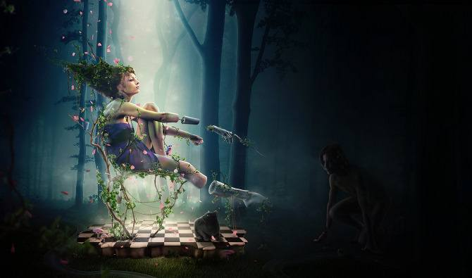 photoshop art design digital computer photograph photo manipulation woman forest slave fantasy design