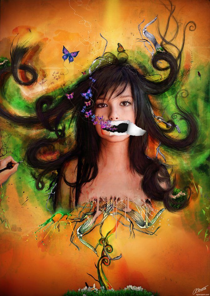 photoshop art digital design girl woman beautiful illustration mixed media photograph butterfly flower celebrate