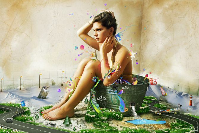 photoshop image manipulation photograph illustration vector design graphics woman bath sexy