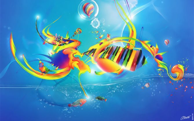 piano image graphic design photoshop illustration digital art color of sound