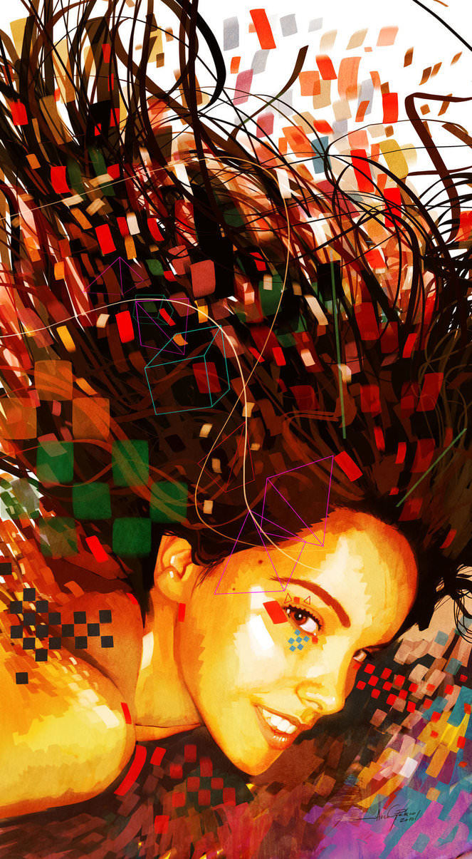 portrait of girl photoshop painting digital art design shapes colors dissipation