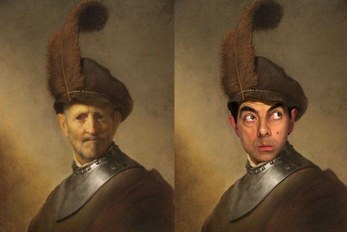 rembrandt pike mr bean rowan atkinson photoshop face morph digital art image photo manipulation before and after
