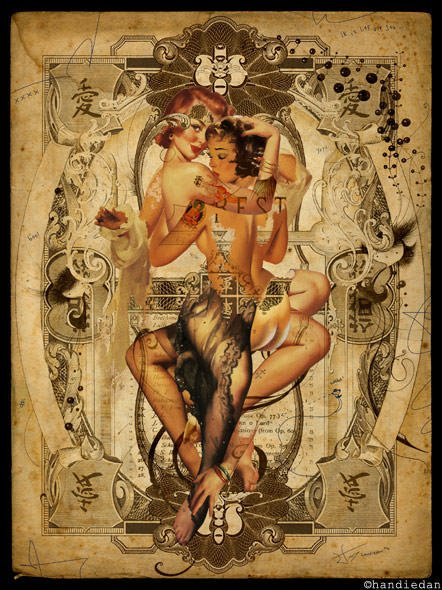 sexy vintage pin up girls collage corset and stockings women in art collage painting