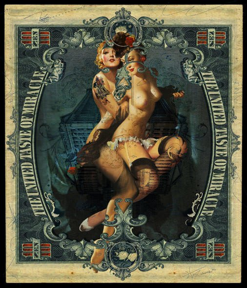 sexy vintage pin up girls on dollar bill art collage painting women lingerie artistic nude