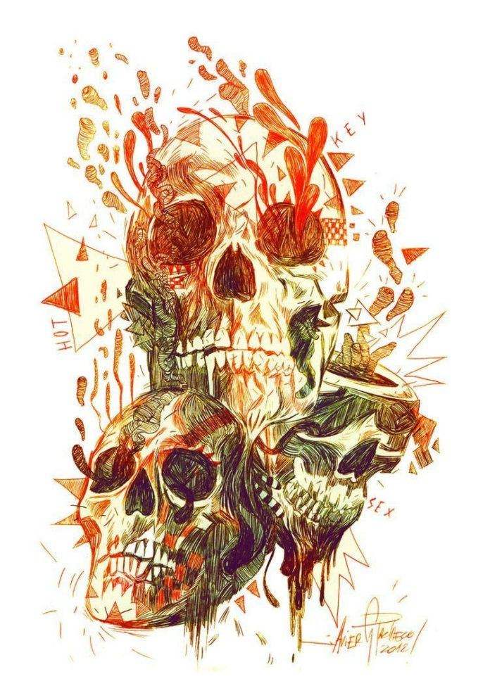 skulls dissolving melting surrealism photoshop painting digital art design