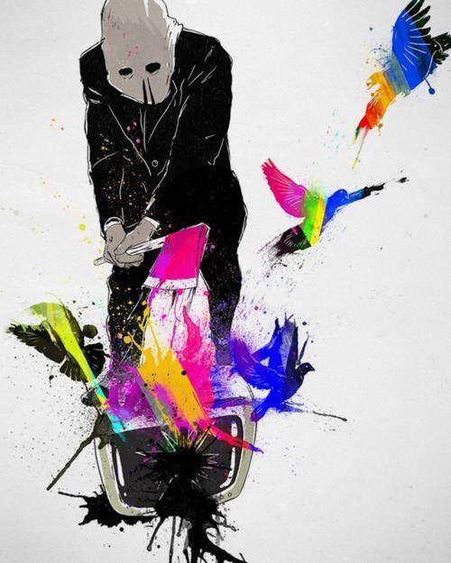 smash tv axe color birds fly freedom media opinion anarchy illustration inspiration art life design