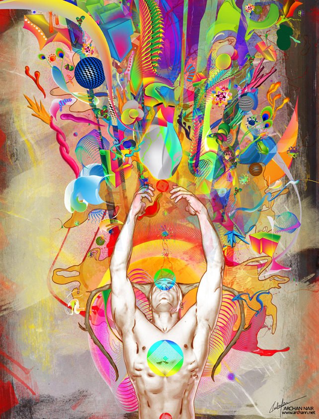 spiritual photoshop painting digital art design man nude shapes colors ethereal