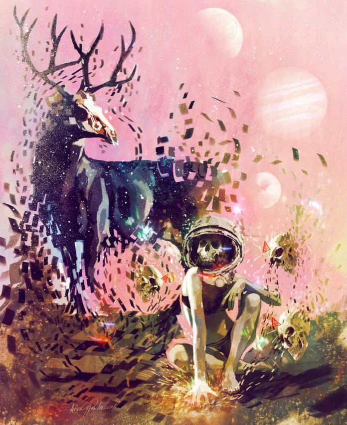 stag women astronaut surreal cubist photoshop painting digital art design