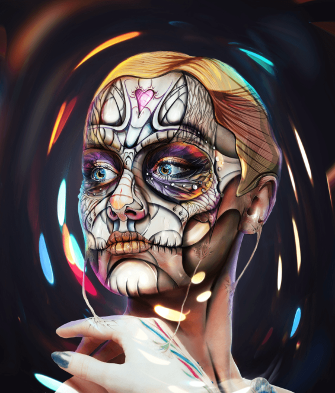 sugar skull woman day of the dead photoshop image manipulation illustration drawing beautiful art