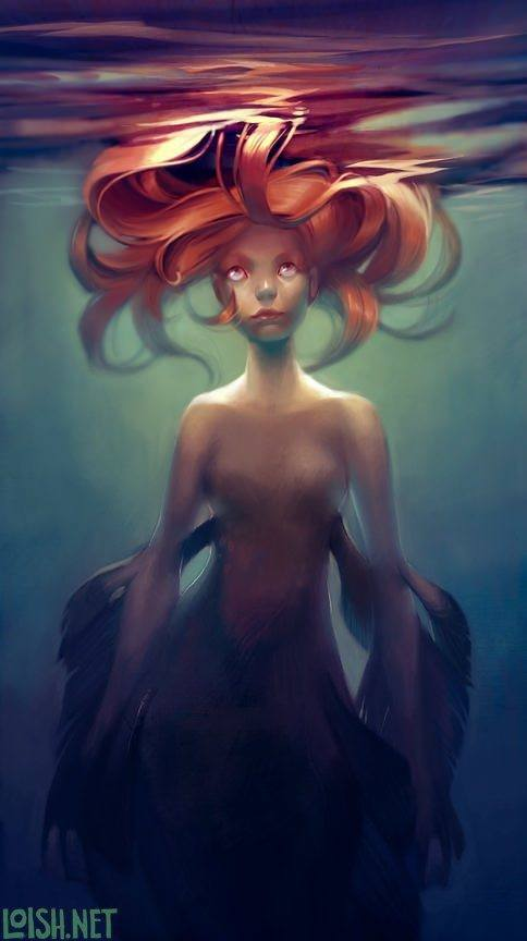 sulky mermaid underwater sea fish girl digital art photoshop painting