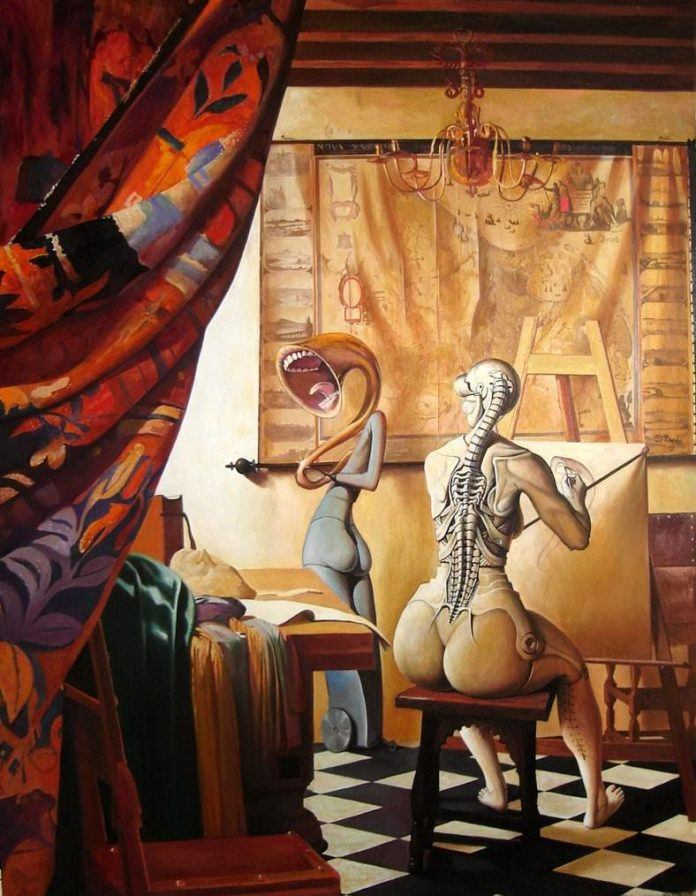 surrealism surreal oil painting women as musical instruments body morph art