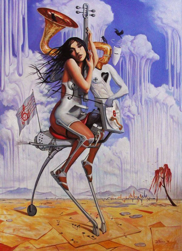 surrealism woman musical instrument guitar landscape music art beautiful girl
