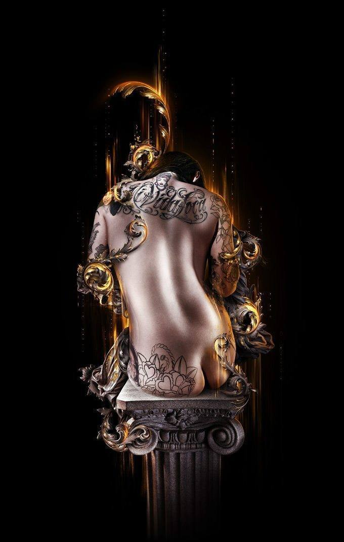 tattoo woman pedestal nude feminine sexy female digital art photoshop painting graphic design