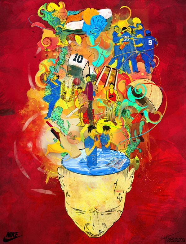 think sports head brain open sportsmen athletes art illustration idea photoshop painting digital art