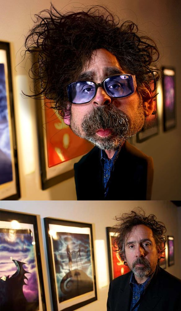 tim burton director pike caricature funny photoshop face morph image photo manipulation before and after