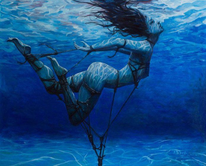 underwater angel mermaid aquatic sexy women nude art oil painting sea water