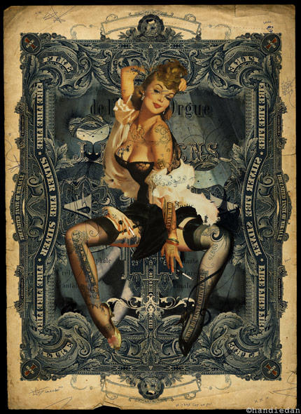 vintage modern hybrid pin up girl with tattoos sexy model art collage painting
