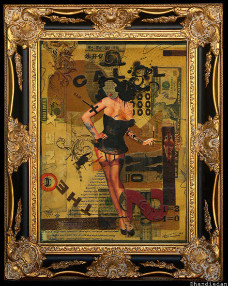 vintage pin up girl style collage painting women in corset and stockings antique beauty