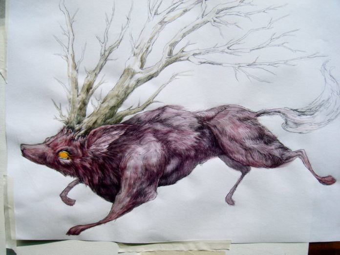 wolf tree hybrid fantasy creature art character design illustration drawing painting nature animal