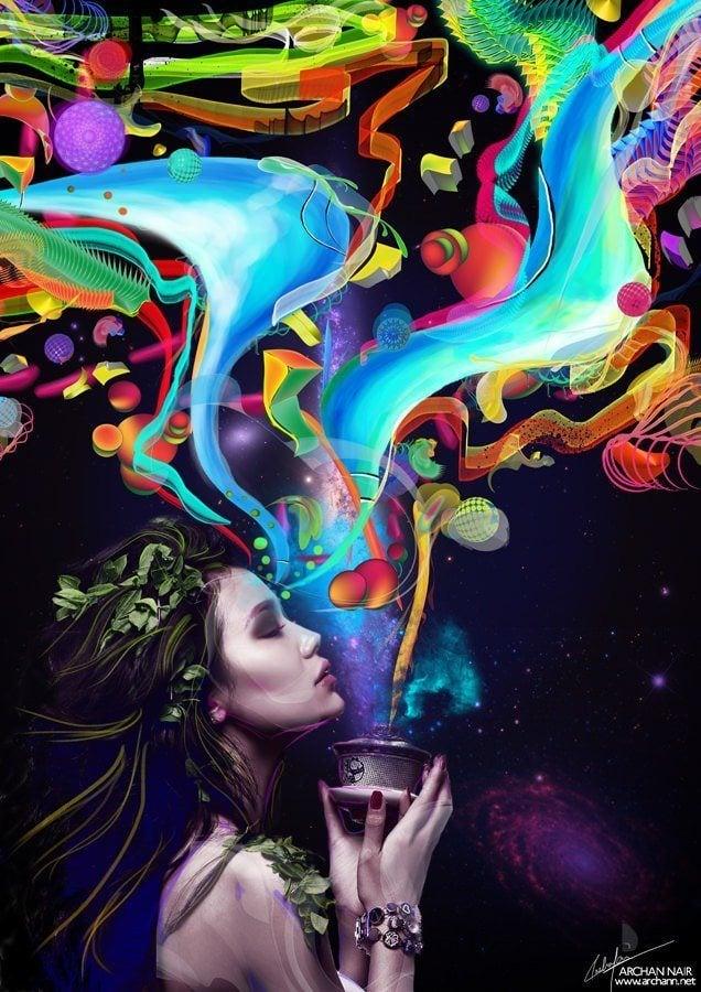woman chalice pandora shapes colors photohsop painting digital art mixed media photography beautiful