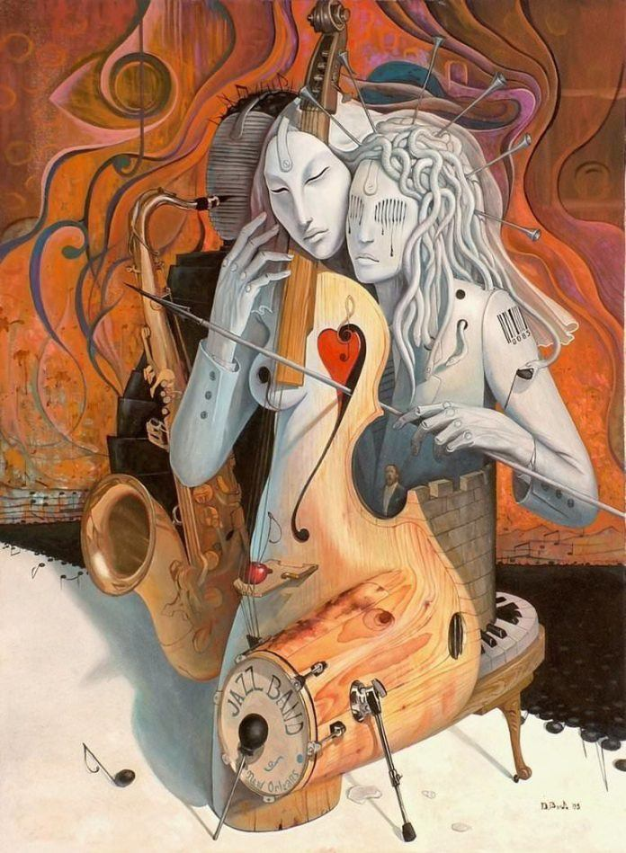 women as musical instruments muse oil painting music art body morph