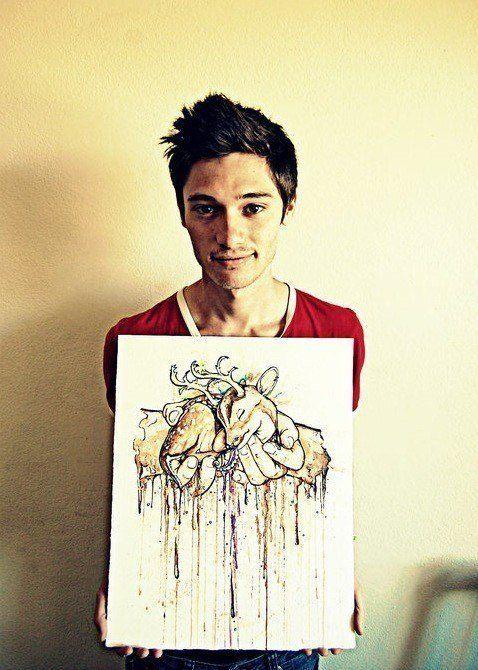 Alister dippner art illustration drawing painting hands holding deer fantasy drip running ink design artist photo