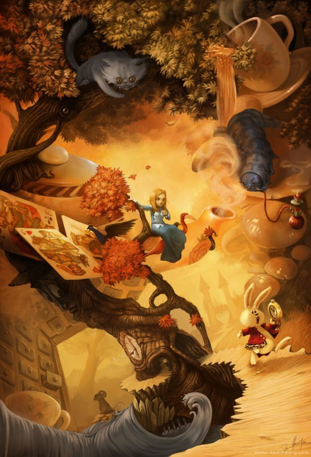 alice in wonderland david revoy illlustration fantasy children's book cheshire cat art