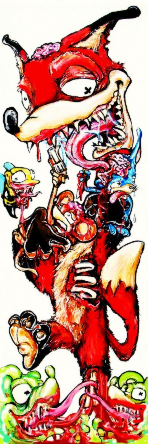 alister dippner cartoon illustration fox mice gun violence blood humor funny gore
