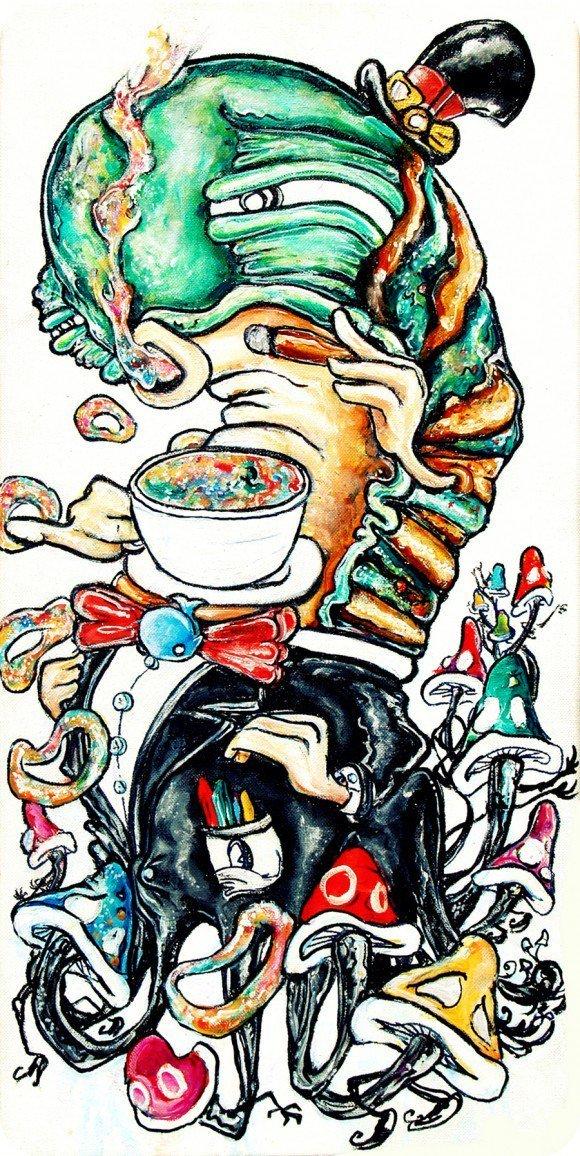 alister dippner caterpillar cigar smoking coffe animal insect art illustration design drawing painting