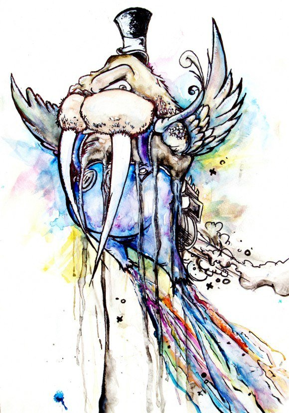 alister dippner flying walrus wings animal illustration cartoon drip run watercolor ink