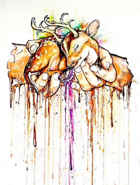 alister dippner hands holding deer with octopus tentacle tongue weird bizarre painting art