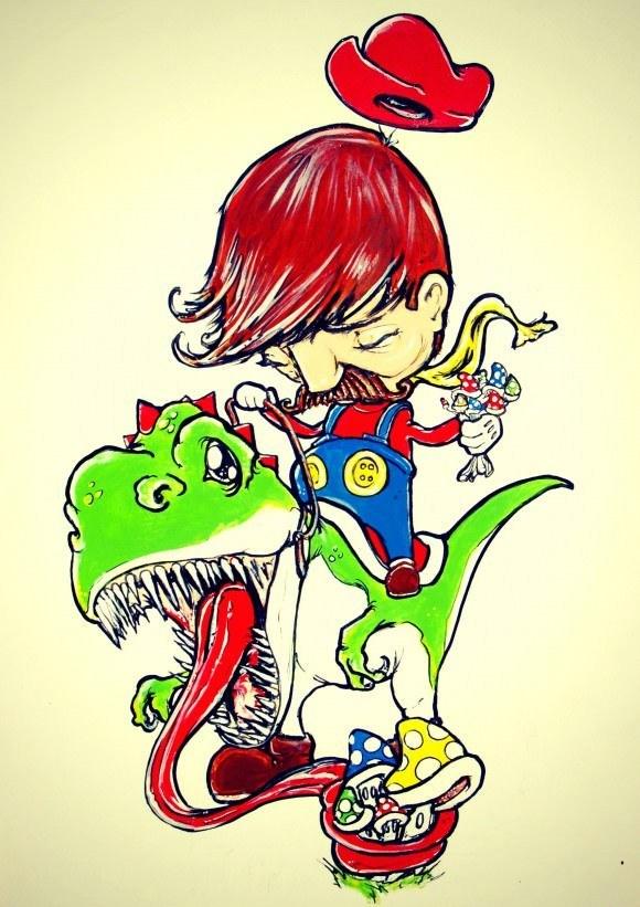alister dippner mario dinosaur mushroom art painting cartoon design
