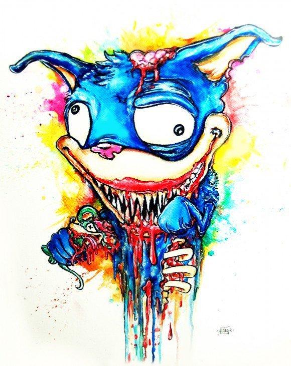 alister dippner monster art illustration horror cartoon blood drip paint ink dribble