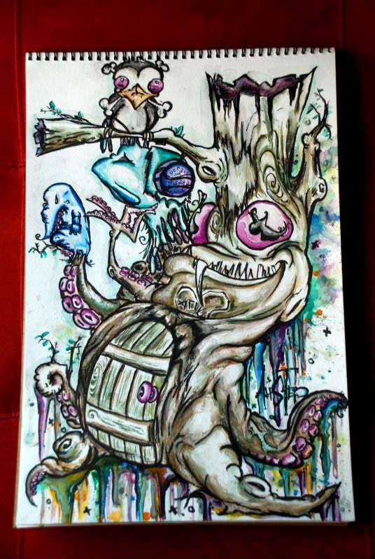 alister dippner tree octopus creepy horror cartooon illustration design art