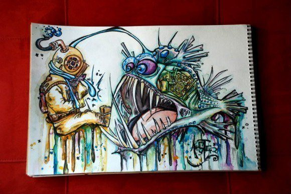 alister dippner watercolor painting deep sea fish monster diver beast creature horror cartoon